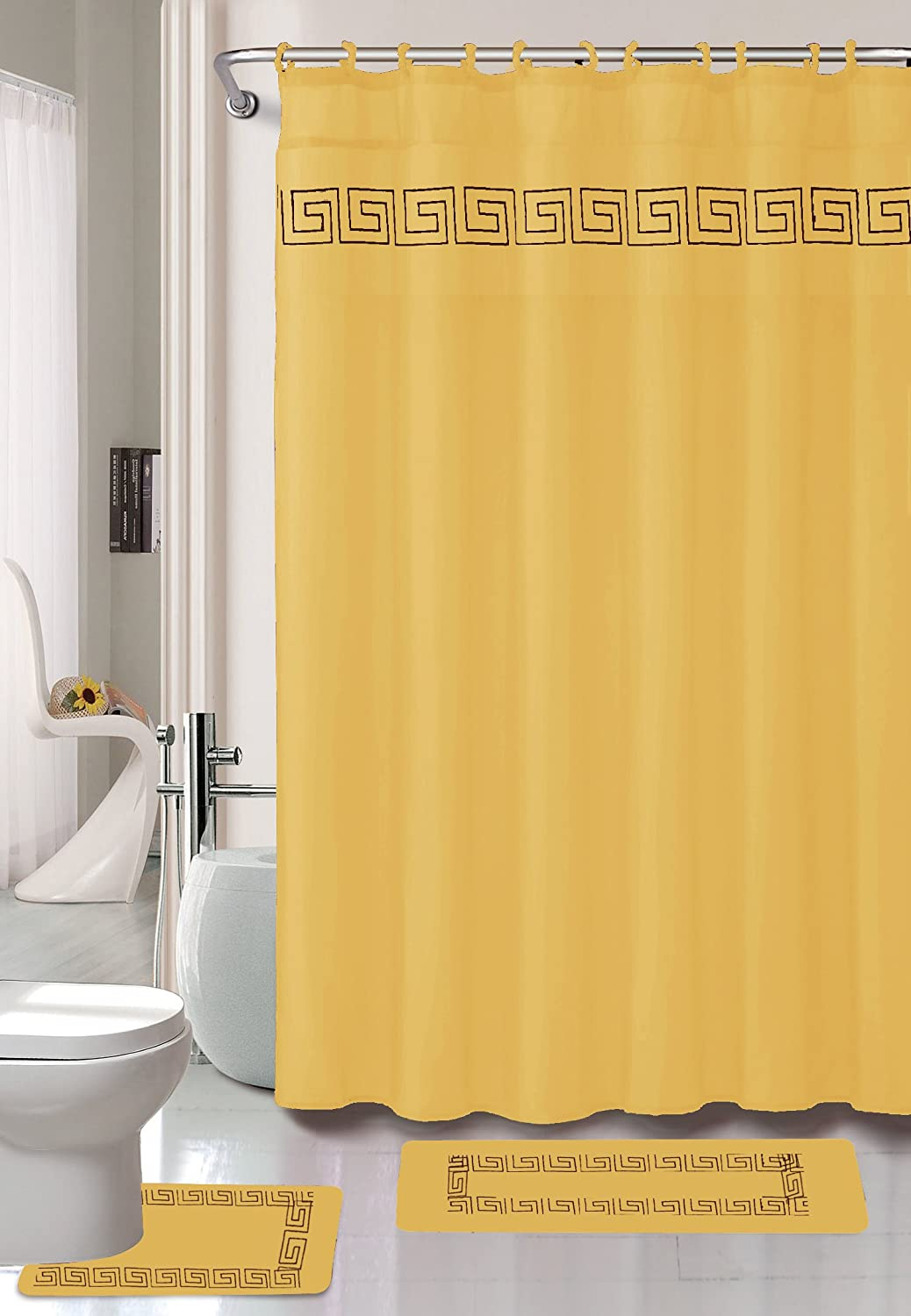 """Kashi Home 15 Piece Shower Curtain Set, Includes Curtain, Hooks and 2 Rugs, 70"""" x 70"""" Greek Key Geometric Design Series in Gold"""
