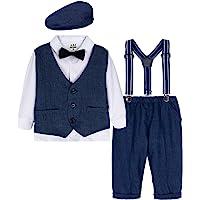 mintgreen Conjunto de Camisa Manga Larga para Bebé Niños con Chaleco+Pajarita+ Pantalones Tirantes+Boina,4 Piezas…