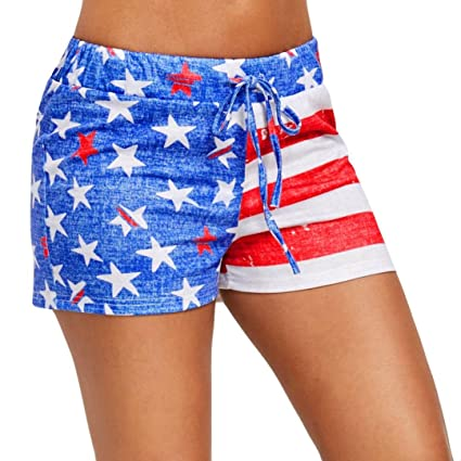 2e1dd8681bf3 Hmlai Women Shorts, Hot Sale! Womens American Flag Print Elastic Short  Pants Independence Day