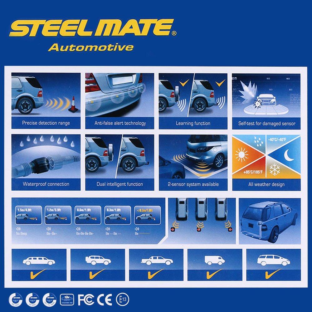 SteelMate pts410 m7 Assist Sistema de 4 sensores Auto Invertir Radar Sistema de alerta con indicador LED Buit buzeer: Amazon.es: Coche y moto