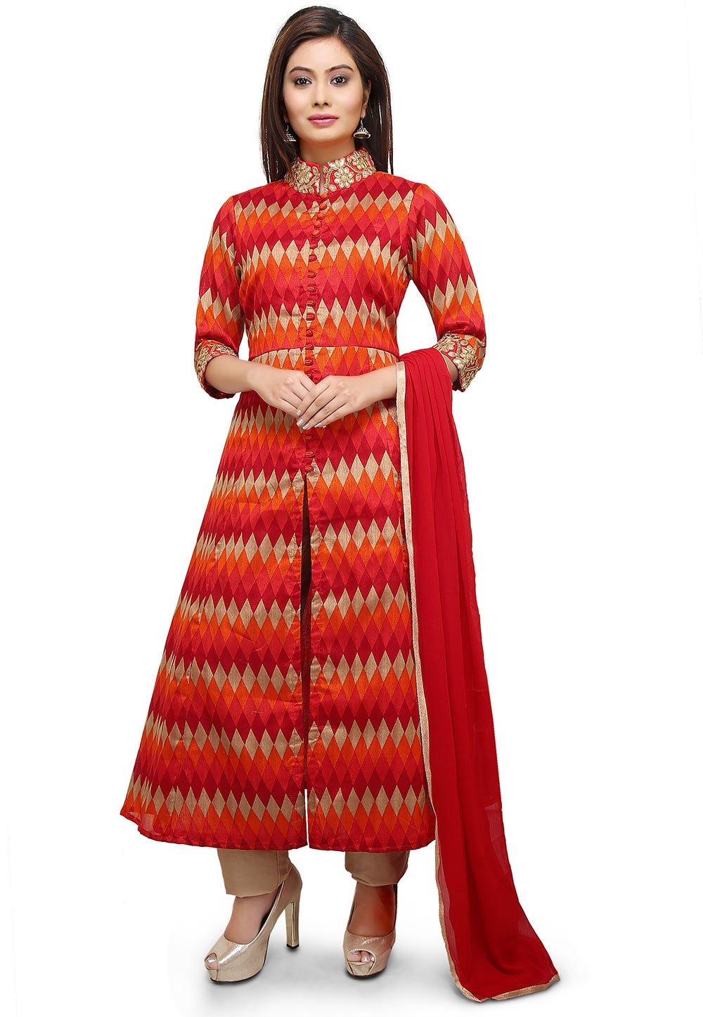 Utsav Fashion Printed Bhagalpuri Silk Jacket Style Straight Suit in Red by Utsav Fashion