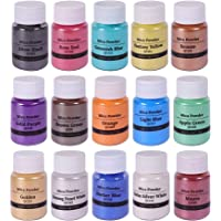 15 Colors Mica Powder Shake Jars Natural Pearl Powder Resin Pigment for Soap Making Dye Kit Bath, Bomb Dye Colorant…