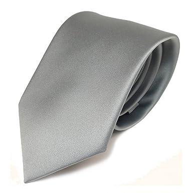 e4e3384a7a98f TigerTie Designer satin cravate gris gris clair argent unicolor - Polyester