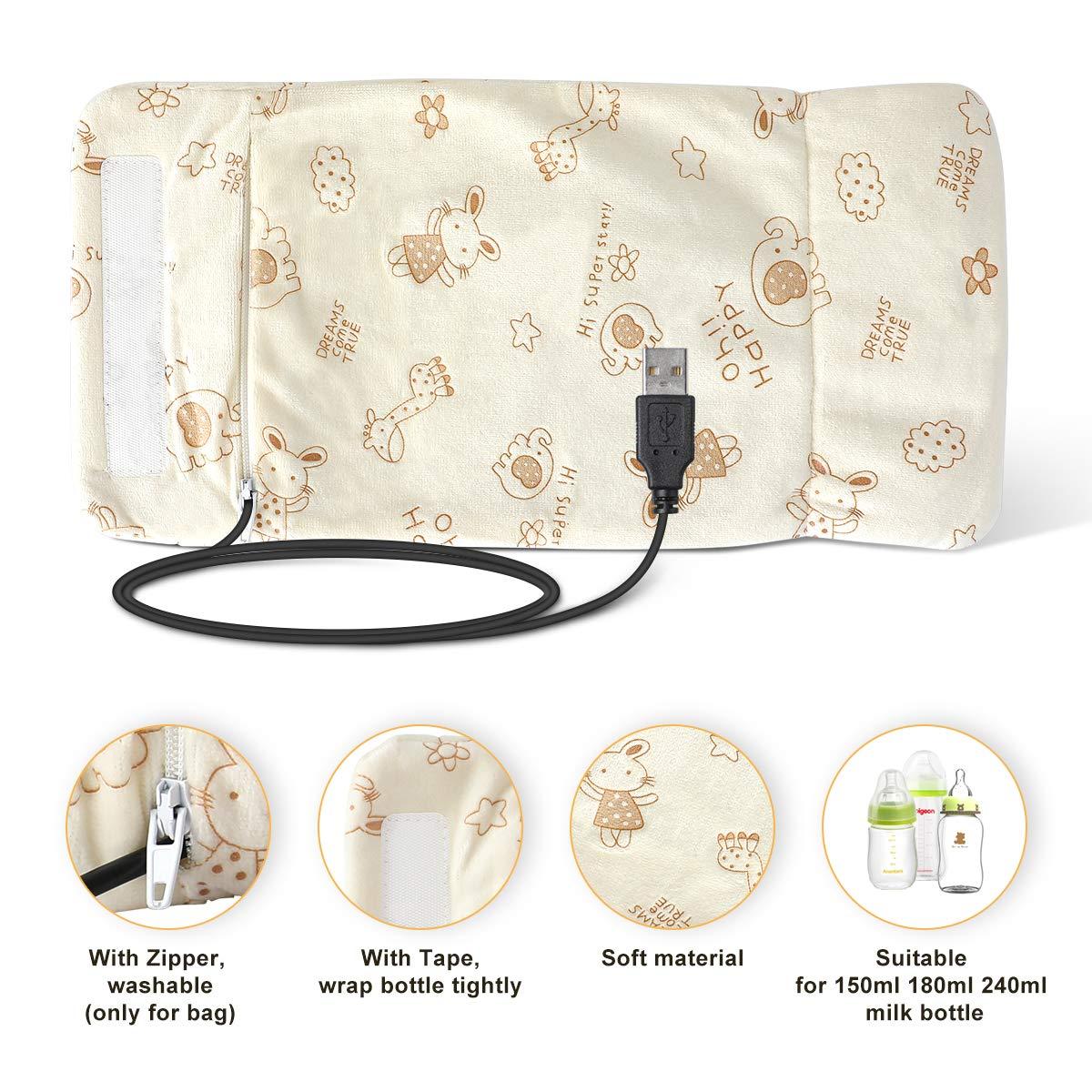 temp/érature constante AIEVE USB Baby Chauffe-biberon Sac de rangement Thermostat de bouteille pour garder au chaud le lait Sac chaud pour auto sur-le-aller