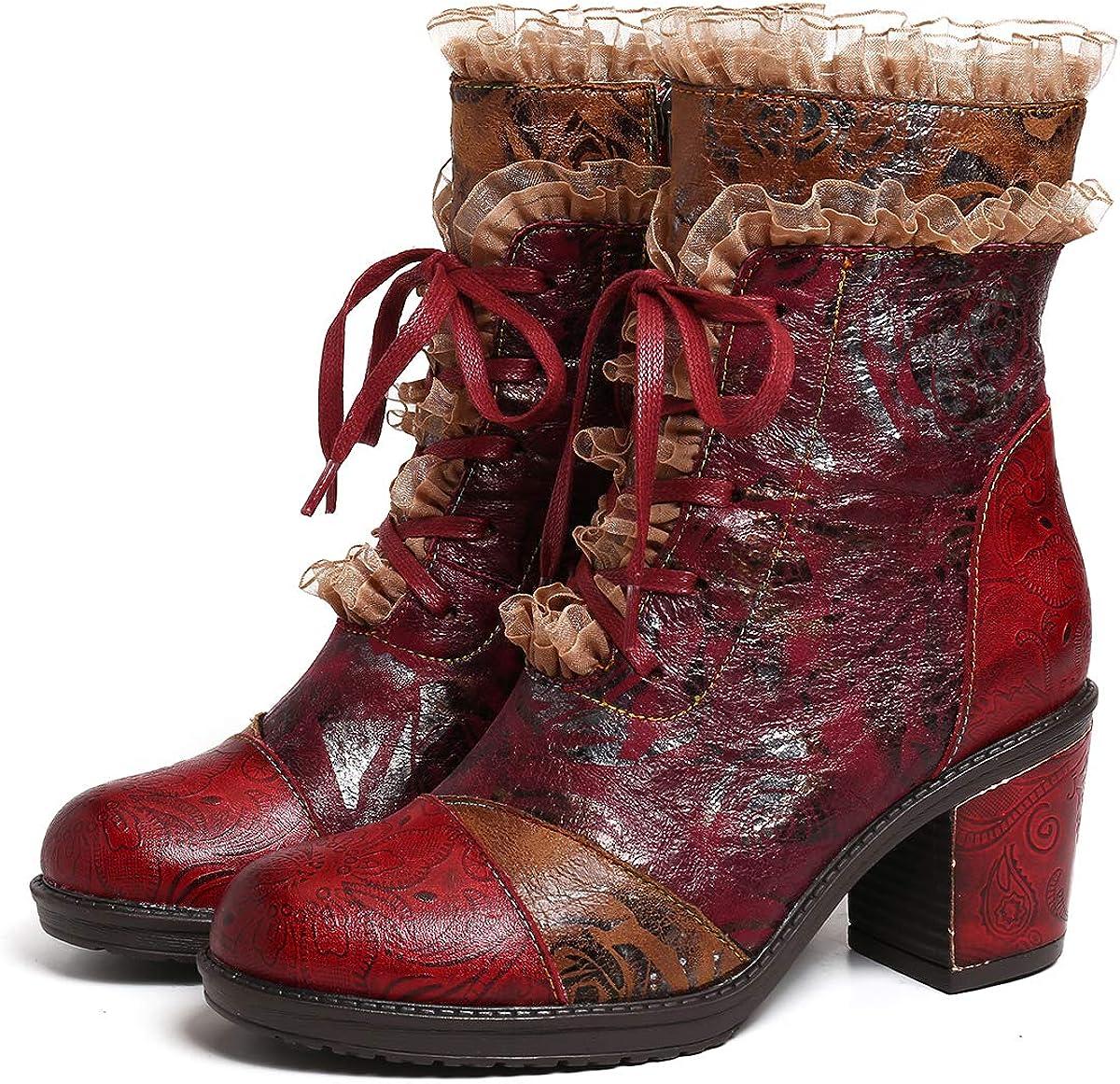 gracosy Bottines Cuir Talons Femmes, Boots Hiver à Lacets en Cuir Rangers Chaussures de Ville Bottes à Talons Hauts Confortable Originales