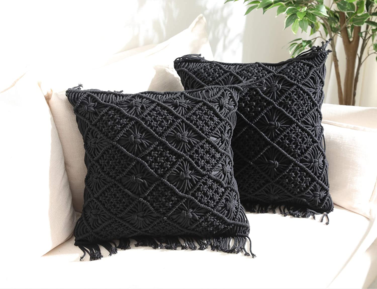 "Throw Pillow Cases, Decorative Cushion Cover, Boho Woven Pillowcase for Home Party Office and Outdoor Decoration, Soft Woven Pillow Case with Tassels, Set of 2 Macrame Cushion Case (17""x17"", Black)"