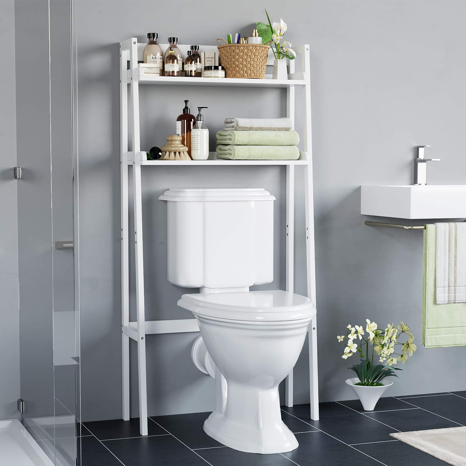 HOMECHO Bathroom Shelf Over The Toilet with 2-Tier Open Storage Shelves Rack Organizer for Bathroom Spacesaver White Finish HMC-MD-002 by HOMECHO