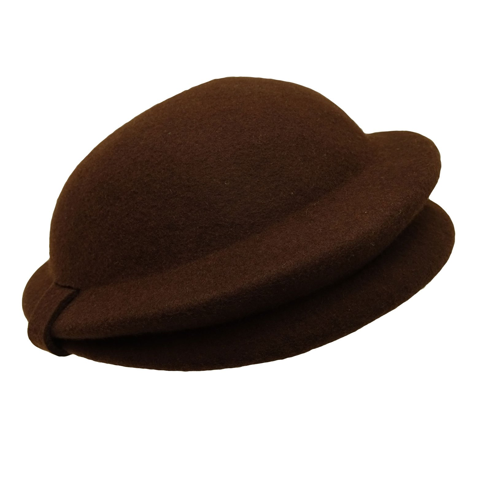HATsanity Women's Vintage Wool Felt Folded Brim Pillbox Hat Brown