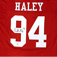$145 » Autographed Charles Haley Jersey - Red Beckett BAS Stock #159189 - Beckett Authentication - Autographed NFL Jerseys