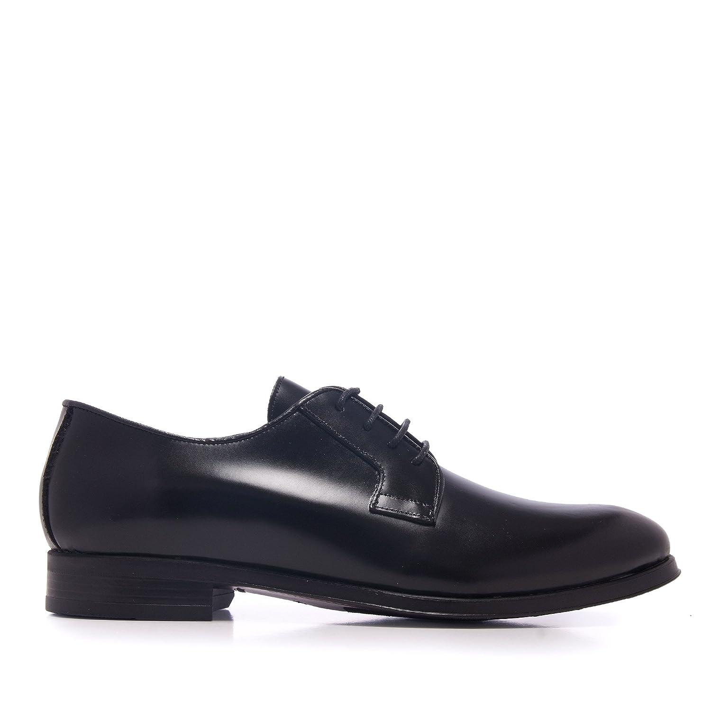 TALLA 41 EU. Castellanísimos Zapato Hombre en Negro de Piel Estilo Blucher con Cordones