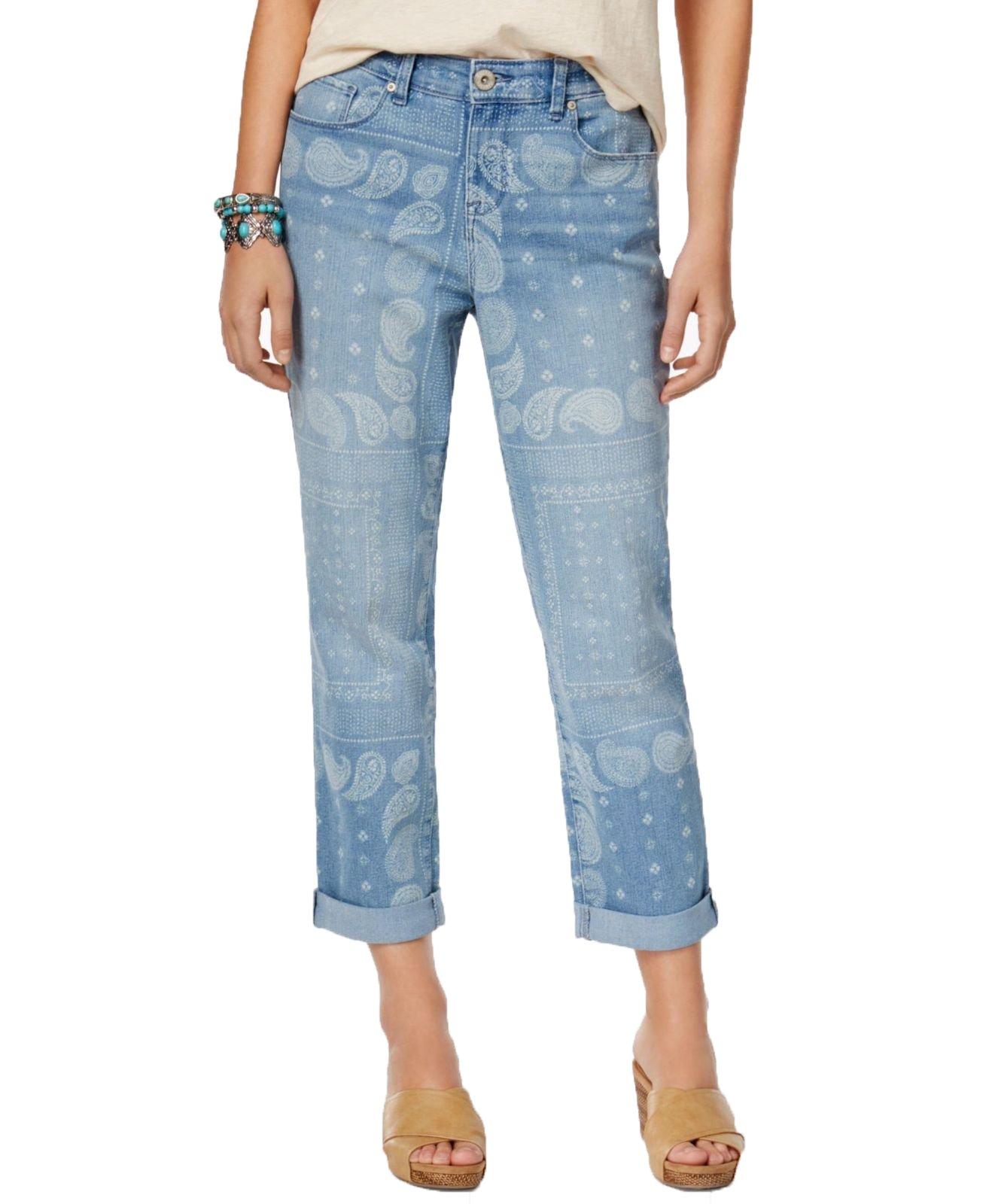Style & Co. Bandana-Print Boyfriend Jeans (Dark Blue, 6)