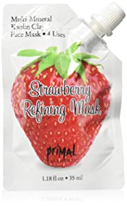 Primal Elements Face Mask, Clay Mud Facial Treatment, Reduce Pores & Treat Blackheads, Multi-Use Package, 1.18 oz - Strawberry Refining