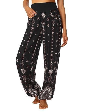 BaiShengGT Femme Pantalon Bouffant Sarouel Yoga Aladin Harem Pantalon  Noir-Fleur 2 S d89ee92c6ac8