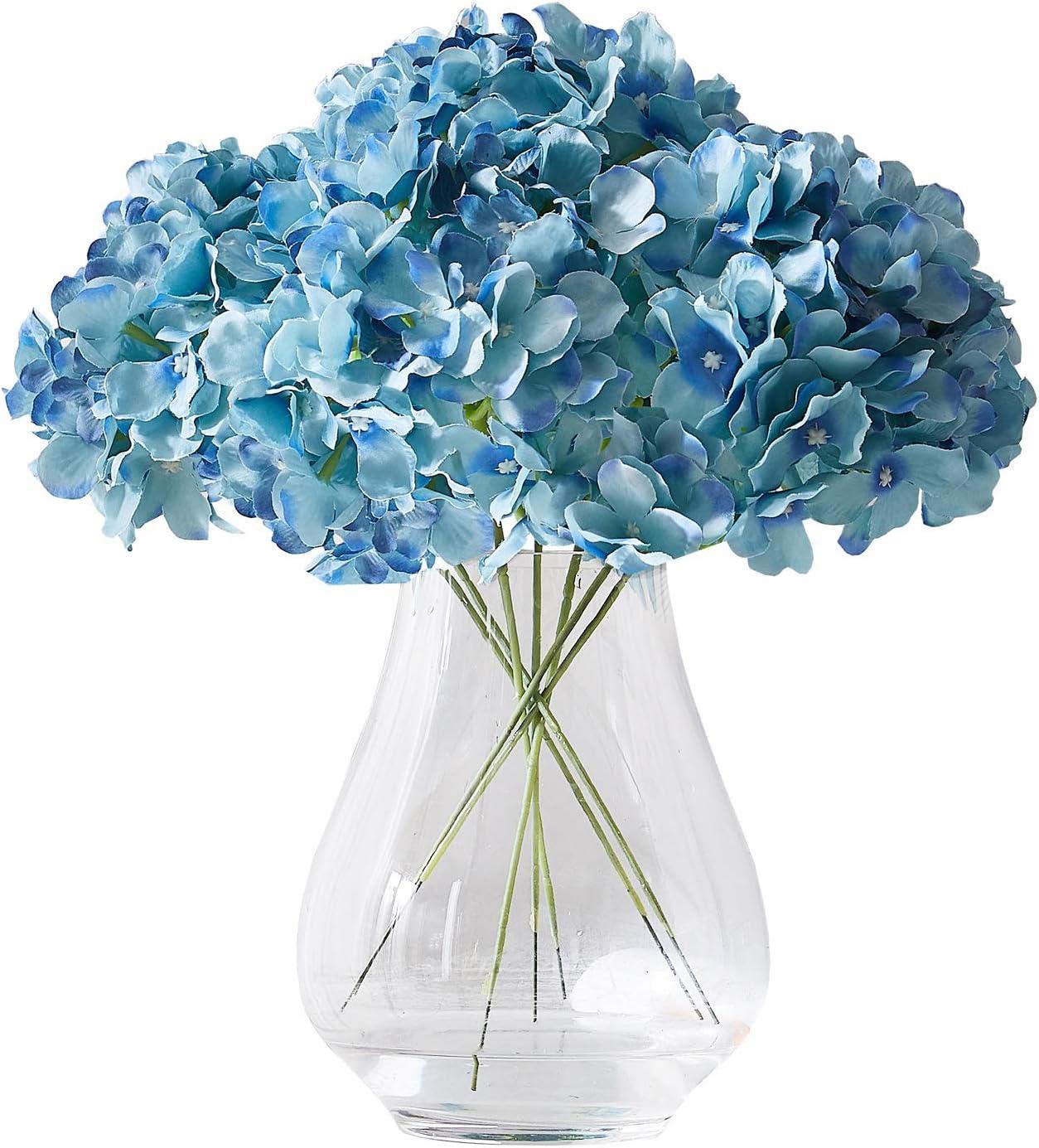 Kislohum Orange Hydrangea Silk Flower 10 Heads Artificial Hydrangea Silk Flowers for Wedding Centerpieces Bouquets DIY Floral Decor Home Decoration with Long Stems
