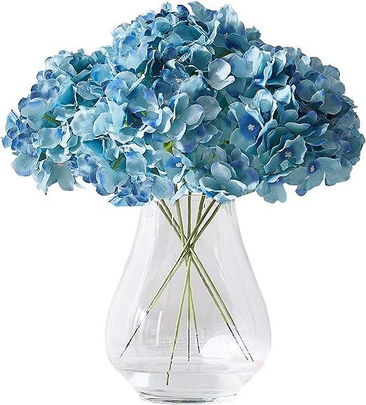 Amazon Com Kislohum Artificial Hydrangea Flowers Heads 10 Teal