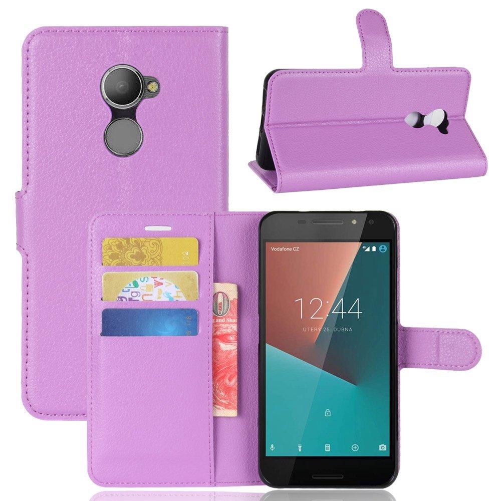 Guran® Funda de Cuero PU Para Vodafone Smart N8 Smartphone Función de Soporte con Ranura para Tarjetas Flip Case Cover Caso-púrpura