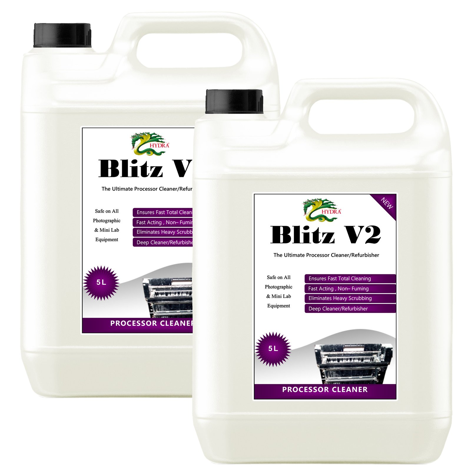 Developer System Cleaner HYDRA BLITZ V2 - 2x5L Rack & Roller Scale Remover ,Foaming Spot Cleaner For Badly Scaled Racks by HYDRA
