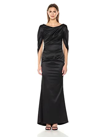 Nicole Miller New York Womens Drape Back Cape Sleeve Gathered Waist Fitted Mermaid Gown, Black