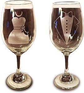 Laser Engraved Bride and Groom Glasses - 20 oz Wine Glasses - Wedding Toasting Set of 2 - Couples Gifts - Engagement Gift - Original Wedding Gifts - Custom Wedding