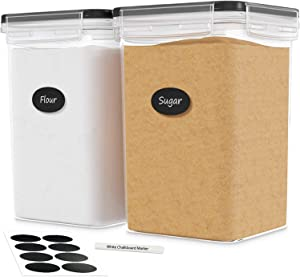 DWËLLZA KITCHEN Extra Large Airtight Food Storage Containers - 2 PC 175 oz Each - For Flour & Sugar - Air Tight Pantry & Kitchen Organization Bulk Food Storage Canisters with Marker & Labels