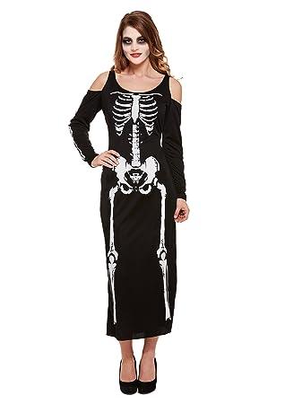 Henbrandt Esqueleto Largo Mujer Disfraz de Halloween Spooky ...