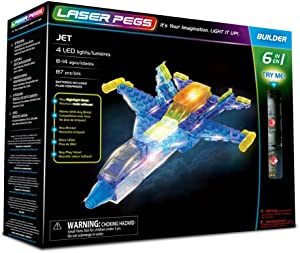 Laser Pegs Jet 6-in-1 Building Set; The First Lighted Construction Toy to Ignite Your Child's Creativity; It's Your Imagination, Light It Up