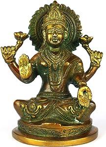 ASHIRWAD Goddess Lakshmi Brass Idol Statue Sculpture for Diwali Pooja, Temple, Home Decor Vastu Laxmi Devi Maa (Laxmi-01)