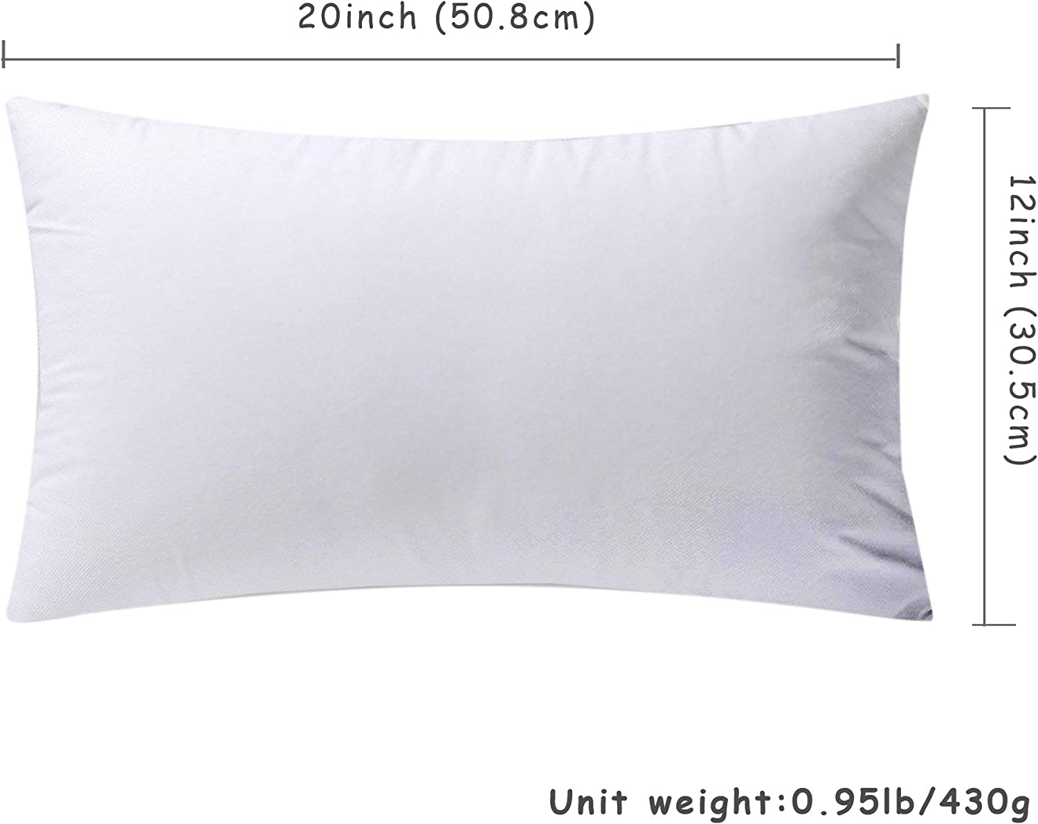 Eggishorn Throw Pillow Inserts Pack of 2 12x20 inch Lumbar Pillow Stuffer Fully Filling with 430g Premium Resilient Microfiber Suitable for Soft Bed and Couch Cushion