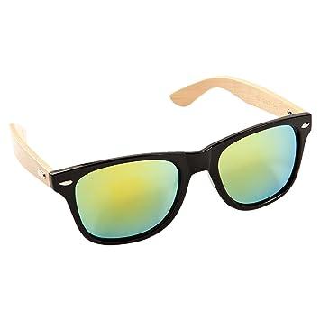 Bambus Holz Sonnenbrille Damen Herren Unisex Nerdbrille Fashion schwarz blau TdrczFwtR