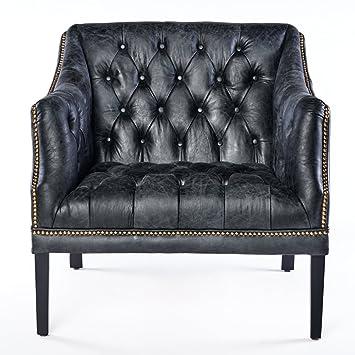 Phoenixarts Chesterfield sillón de Piel Negro diseño de ...