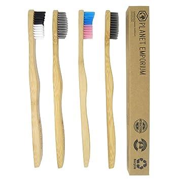 Cepillo de dientes biodegradable de bambú ecológico de Planet Emporium activado carbón negro con infusión de ...