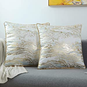 GREAGLE Throw Pillow Covers Cases, Pack of 2, Soft Decorative Luxury Velvet Cushion Covers for Living Room/Couch/Bed/Sofa/Chair/Home Decor Decorations, 18 x 18 (18S071-White/Gold)