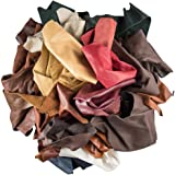 """Leather Scraps Upholstery Leather (2 LB) & 3 """"Genuine Snakeskin"""" Pieces"""