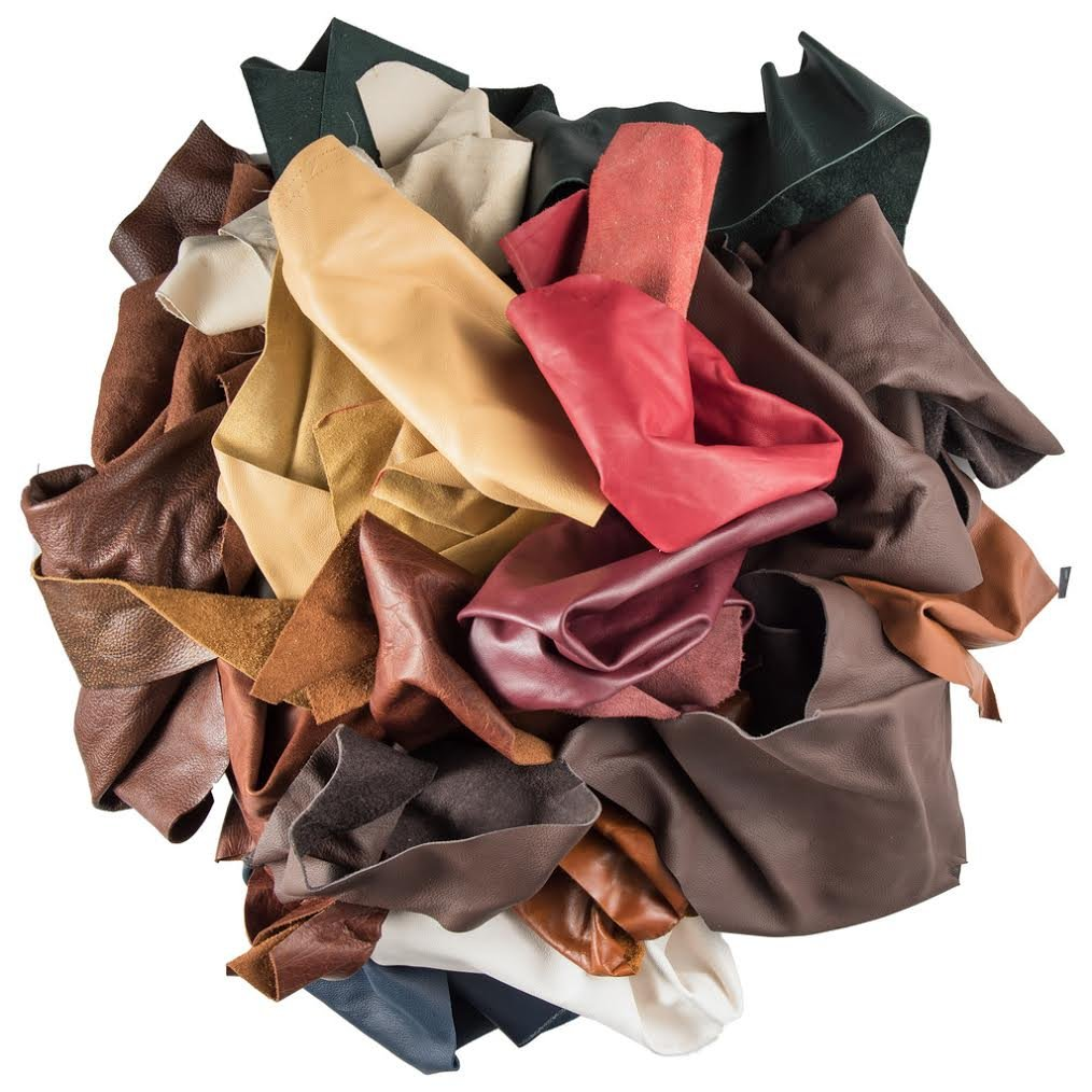 Leather Scraps Upholstery Leather (5 LB) & 1Genuine Snakeskin Pieces ABE LEATHER
