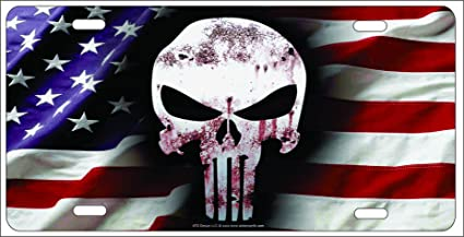 amazon com atd the punisher skull on american flag background