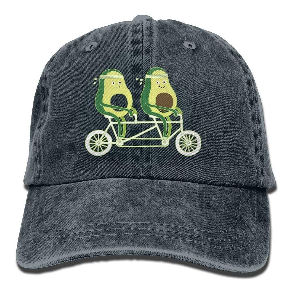 JTRVW Cowboy Hats Unisex Avocado Riding Bike Cotton Denim Baseball Cap Adjustable Sun Hat for Men Women