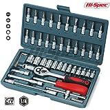 "Hi-Spec 46 Piece Professional Cr-V Metric Socket Set- 1/4"" Drive Sockets (4-14mm), Bit Socket Set & Accessories Kit for Automotive, Mechanical, Engineering Tasks in Sturdy Storage Case"