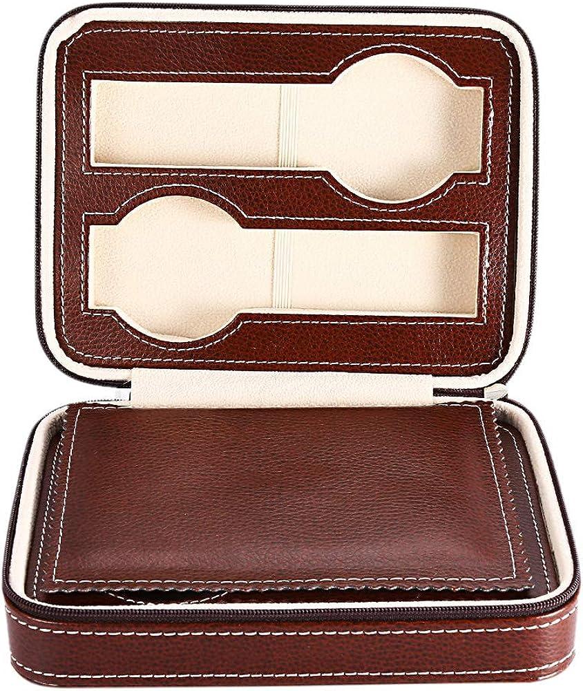 TOOGOO® - Caja de viaje para relojes con cremallera, color negro - Organizador de relojes - Cuero PU (negro - 4 ranuras)