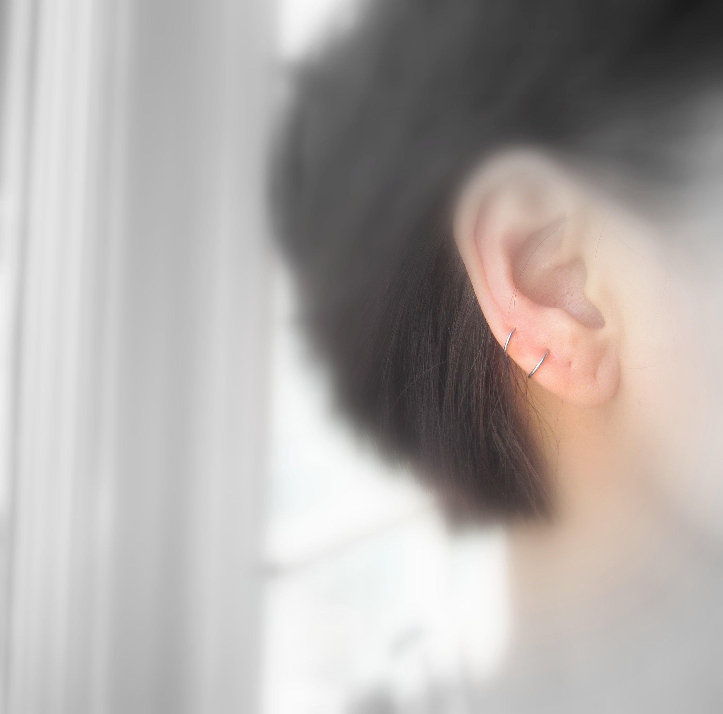 Platinum Small Hoop Earrings for Sensitive Ear Lobe Cartilage Handmade One Pair 20G 8mm