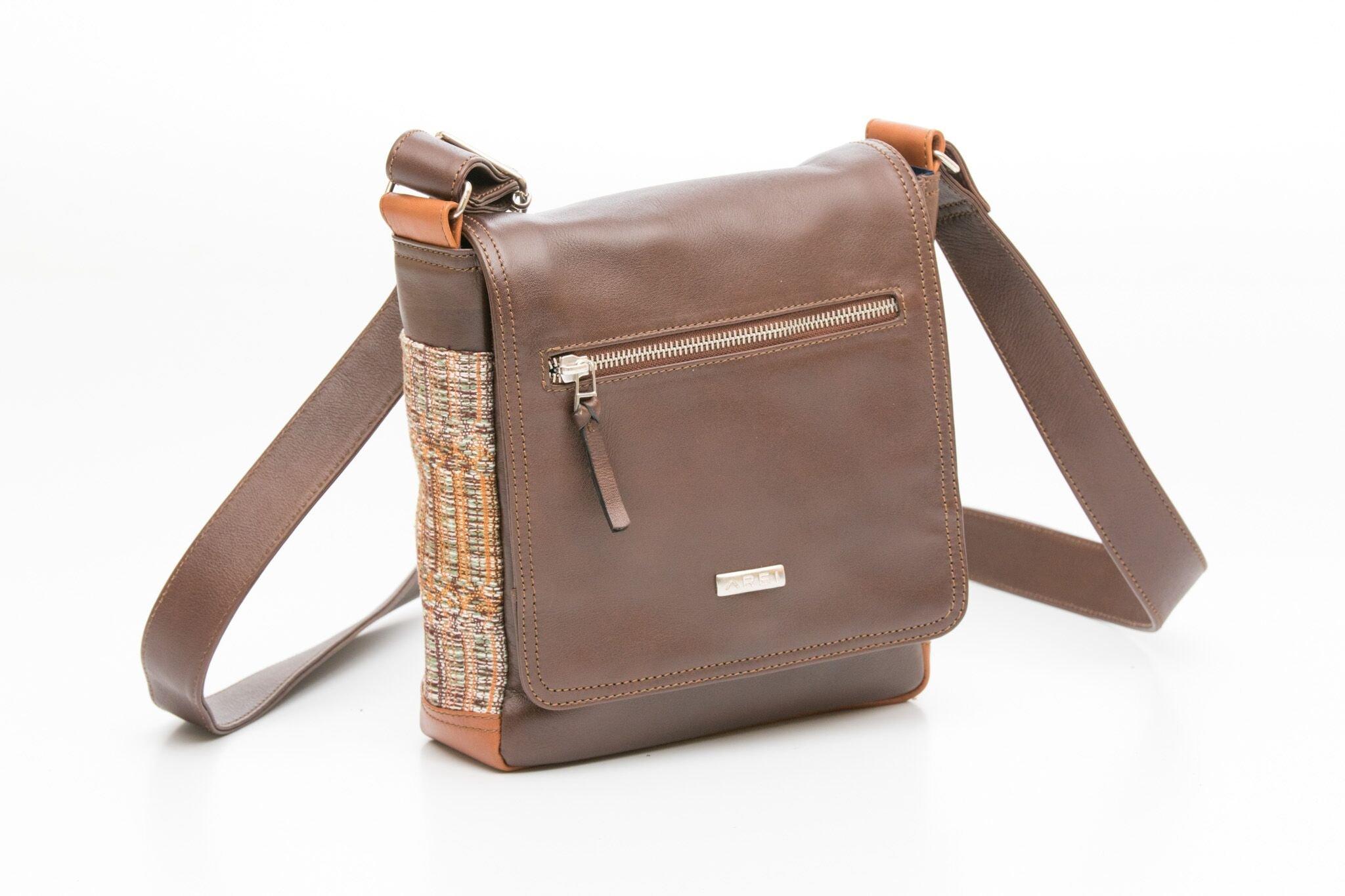 MORRALITO Leather and Cotton Messenger Bag (Brown)