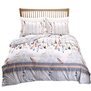 Bohemian Feather Bedding Floral Duvet Cover Set Colorful Feather Printed White Grey Bedding Set King (104 x90 ) One Duvet Cover Two Pillowcases (Multi, King)