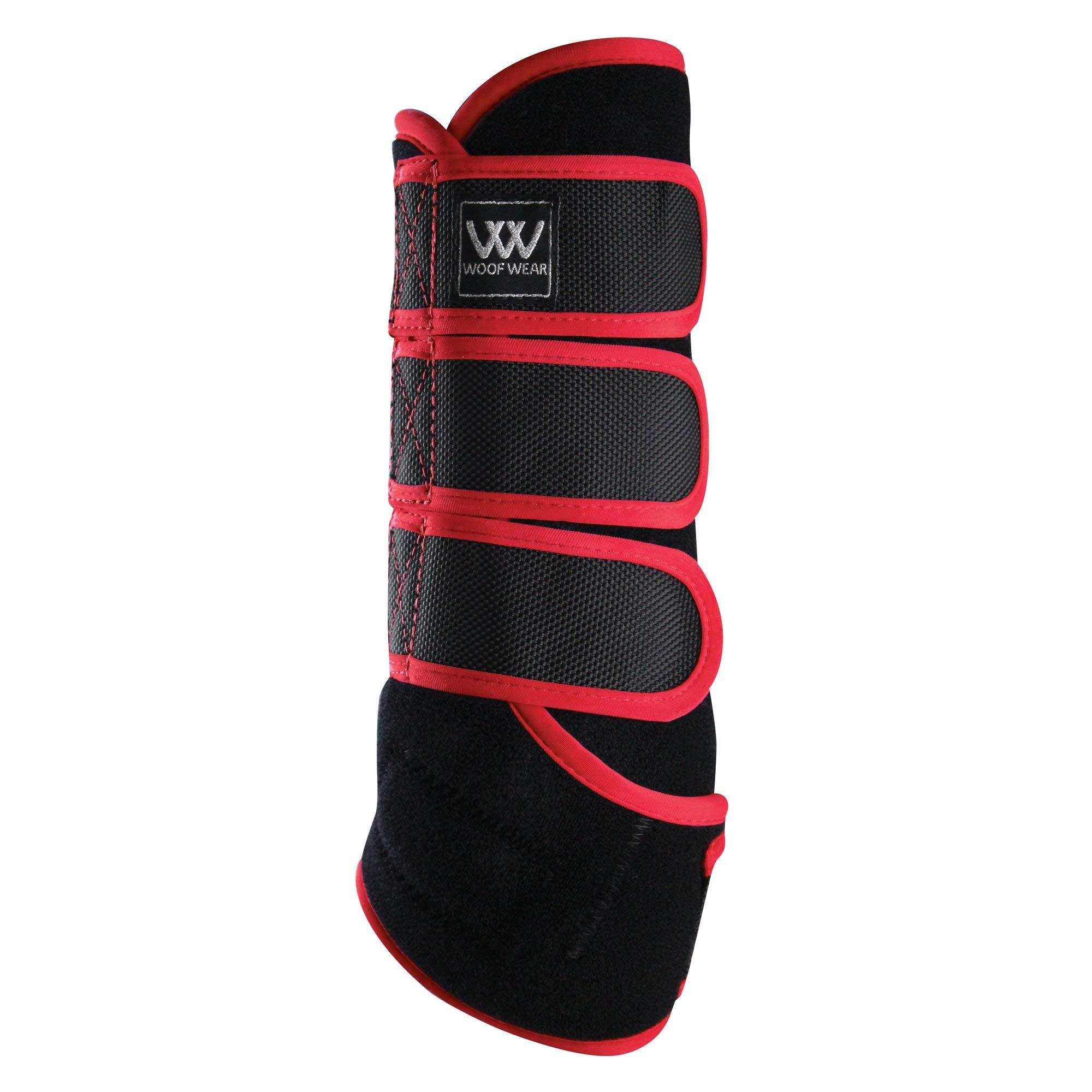 WOOF WEAR Dressage Exercise Wrap Medium Black Royal Red