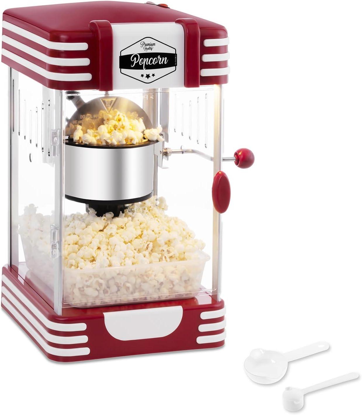Bredeco BCPK-300-WR Palomitera Mini Máquina de Palomitas (300 W / 100 s, Porción de Maíz 57 g, Revestimiento de Téflon, Cuchara Dosificadora Multi Función incl., 28,5 x 32,5 x 46 cm) Roja Diseño Retro: Amazon.es: Hogar