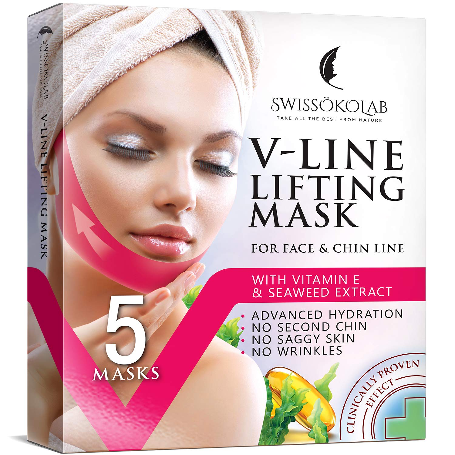 Double Chin Reducer V Line Lifting Mask Face Slimming Strap Chin Neck V Shaped Lift Tape Chin Up Patch V Up Contour Tightening Firming 5 pcs : Beauty