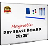 Magnetic Dry Erase Whiteboard 24x36 Inch Silver/Grey Aluminum Frame Lightweight BONUS 4 Marker Pens 1 Eraser 4 Pack Round Magnets & Ruler and Holder Tray Home Office & School HORIZONTAL or VERTICAL