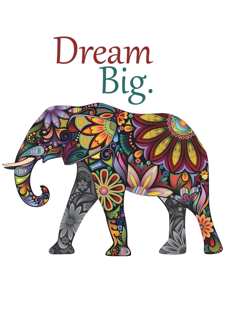 Dream Big Elephant Notebook Or Journal With Inspirational Quote For