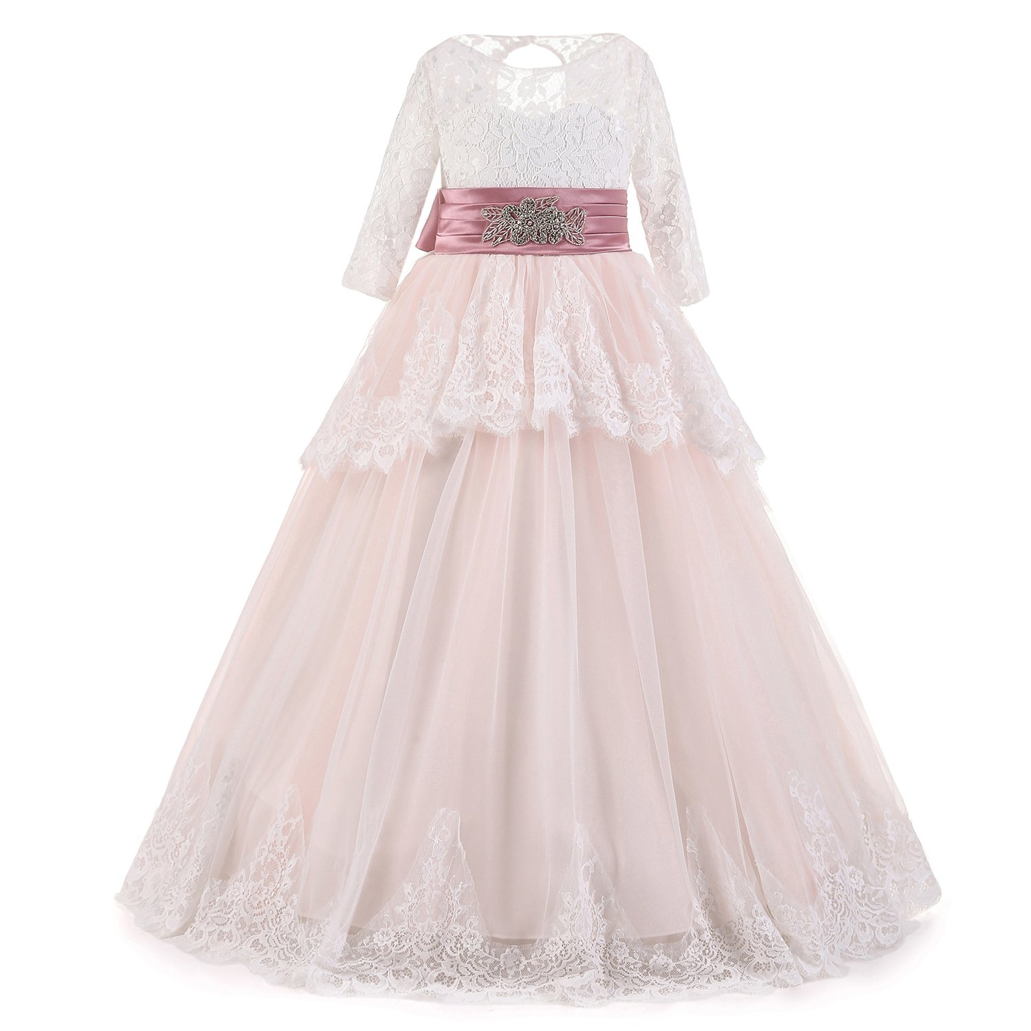 FOLOBE New Vintage Sequins Appliques Lace Flower Girls Dress for Wedding Hollow Back Bow Sash First Communion Dresses Girl Prom Gowns: Amazon.co.uk: ...