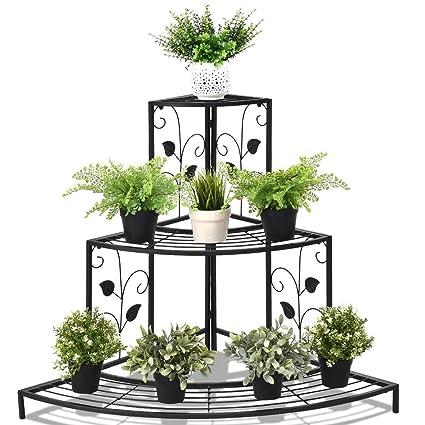 e13b13d864c5 Amazon.com: MD Group 3 Tier Floral Corner Metal Plant Pot Rack: Kitchen &  Dining