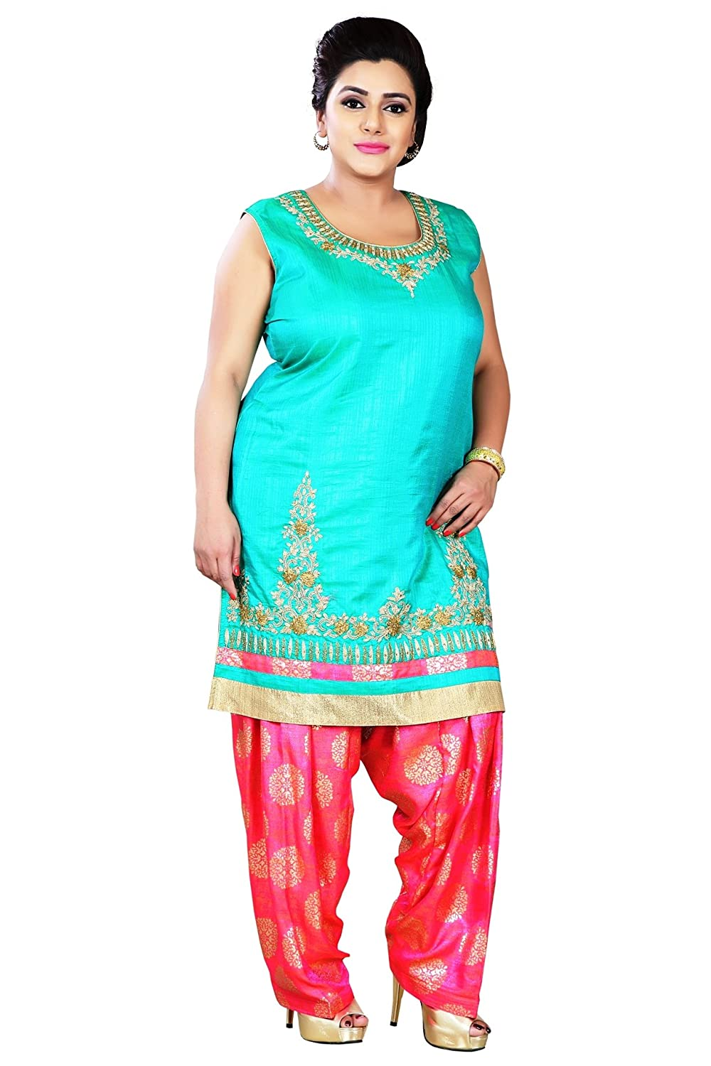 PLUS SIZE INDIAN READYMADE SUITS FOR WOMEN LADIES PATIALA SALWAR ...