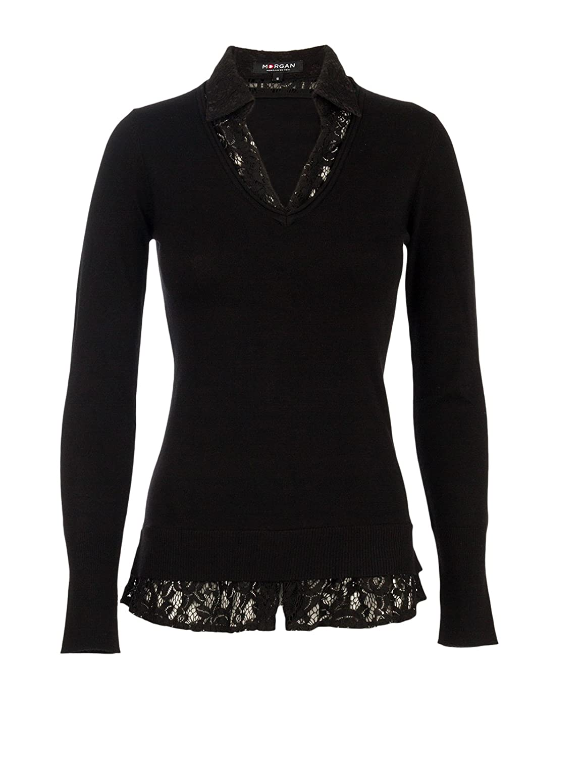 Morgan Uni Col polo Pull Manches longues Femme
